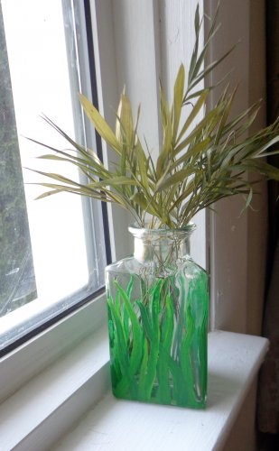 Three Sided Hand Painted Vase - Blades of Grass