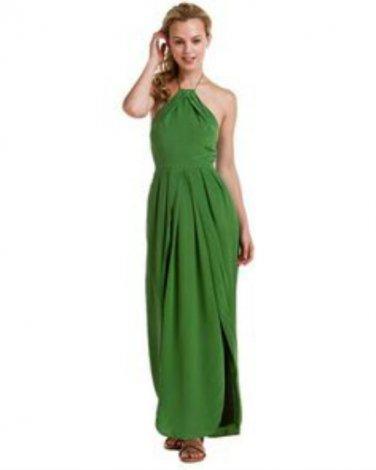 Addison Green Emerald Silk Halter Size Small/2 Maxi Dress