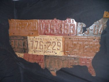 Metal Tag Art Map of the United States