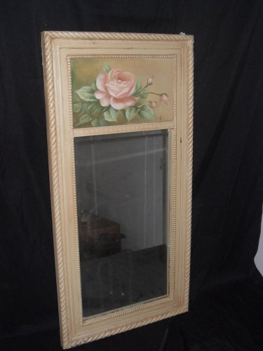 Country Painted Mirror with Painted Flowers