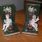 Vintage Pair of Dresden/ Capodimonte Style Bookends with Birds and Cherubs