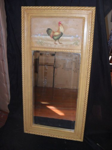 "Country Painted ""Rooster"" Wall Mirror with Beveled Mirror"
