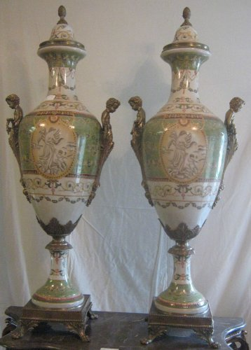 Pair of Porcelain and Bronze Celeste Urns