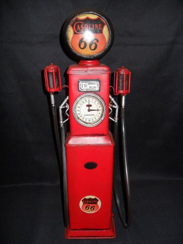"Tin Gas Pump ""Gasoline 66"""