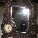 Bronze desk mirror with clock and backstand