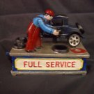 "Cast Iron painted mechanical bank ""Full Service"""