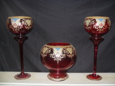 """Decorative 3 pc Glass Bowl and Urn Set """"Red"""""""