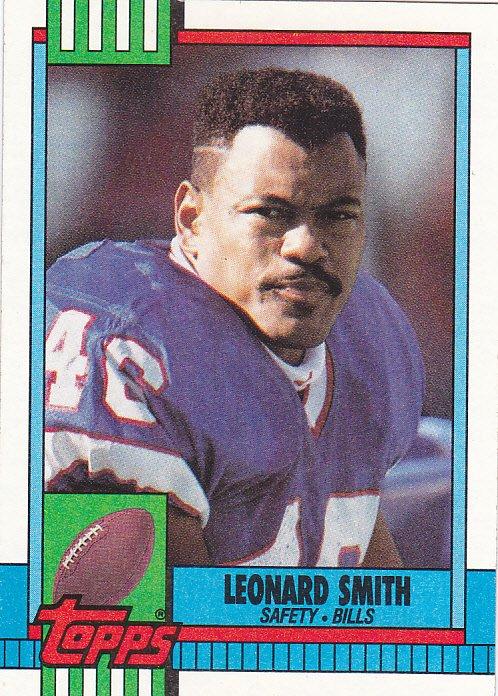 Leonard Smith #194 - Bills 1990 Topps Football Trading Card