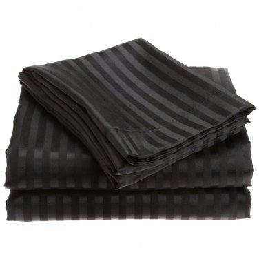 400TC BLACK  STRIPE QUEEN SHEET SET � 100% EGYPTIAN COTTON