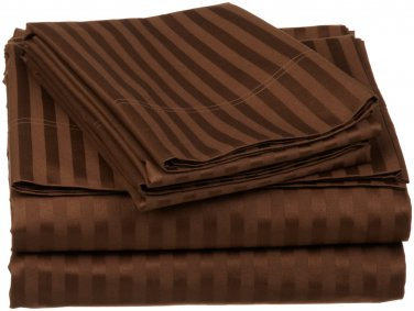 400TC CHOCOLATE  STRIPE QUEEN SHEET SET � 100% EGYPTIAN COTTON