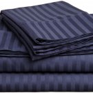 600TC NAVY BLUE STRIPE QUEEN SHEET SET – 100% EGYPTIAN COTTON