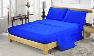 600TC EGYPTION BLUE SOLID QUEEN SHEET SET � 100% EGYPTIAN COTTONEGYPTION BLUE
