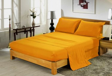 600TC GOLD SOLID QUEEN SHEET SET � 100% EGYPTIAN COTTON