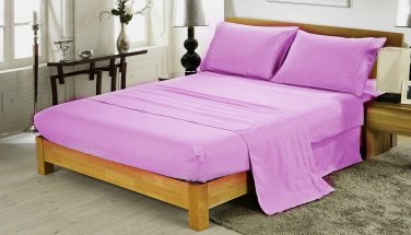 600TC LAVENDER SOLID QUEEN SHEET SET � 100% EGYPTIAN COTTON