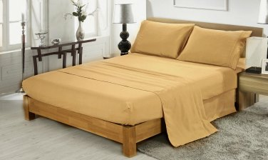600TC TAUPE SOLID QUEEN SHEET SET � 100% EGYPTIAN COTTON