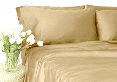 500TC BEIGE SOLID QUEEN SHEET SET � 100% EGYPTIAN COTTON