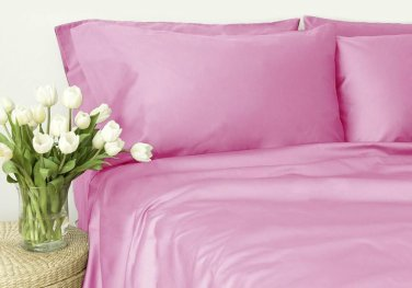 500TC PINK SOLID QUEEN SHEET SET � 100% EGYPTIAN COTTON