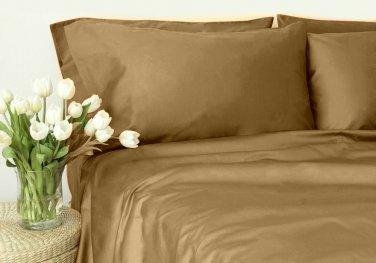 500TC TAUPE SOLID QUEEN SHEET SET � 100% EGYPTIAN COTTON