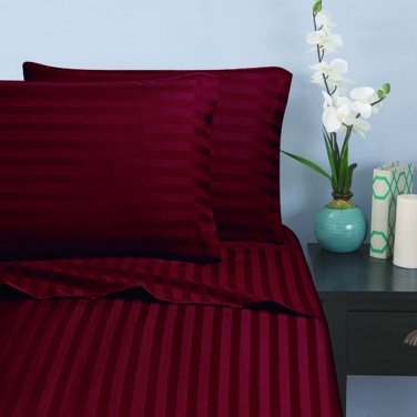 500TC BARGUNDY  STRIPE QUEEN SHEET SET � 100% EGYPTIAN COTTON
