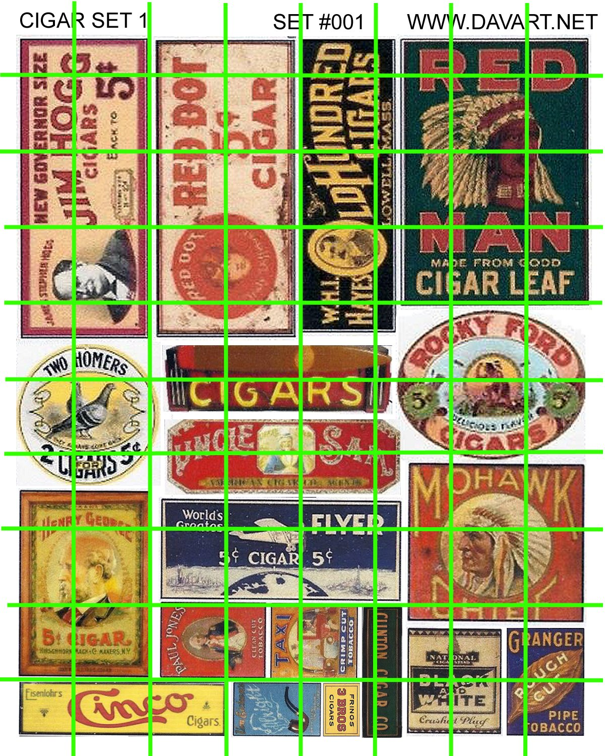 2001 - AD SET GHOST SIGNS 1 Cigars Cigarette Tobacco Ad Sign Decals