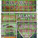 1016 - Advertising Decal Set 8 PEPSI COKE COLA KING MIDUS ATLANTIC HOTEL SHOES