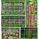 1035 - Advertising Decal Set 19 GHOST SIGNS BOSS ROAD BAXTER BAXTER COKE COLA BOWLING LANES