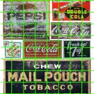 1036 - Advertising Decals Set 22 GHOST SIGNS MAIL POUCH PEPSI COKE RC DOUBLE COLA