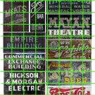 1029 - Advertising Decals Set 32 GHOST SIGNS MAYAN THEATER PEPSI ABS EMPIRE BUILDING MEATS