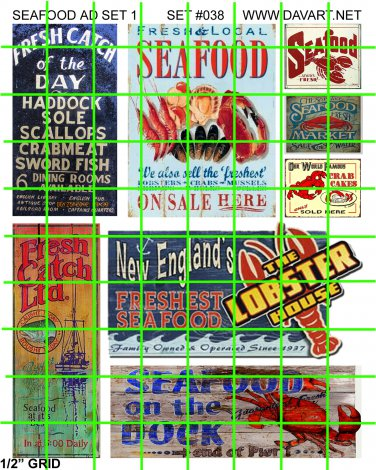 2104 - Seafood Ad Set 1 LOBSTER HOUSE SEAFOOD ON THE DOCK FRESH FISH STORE SIGNS