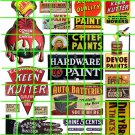 5001 - Advertising Decals Set 43 SHERMAN WILLIAMS PAINT KEEN KUTTER HARDWARE SIGNS