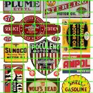 4005 Gas/Oil Set 2 SHELL SUNOCO STERLING WOLFS HEAD STP ADVERT SIGNS