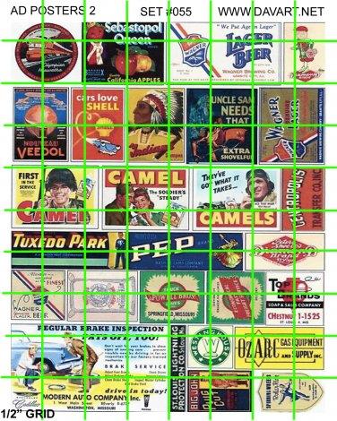 5006 Ad Poster Set 2 BEER SMOKES TRANSPORTATION ADVERTISING SIGNS