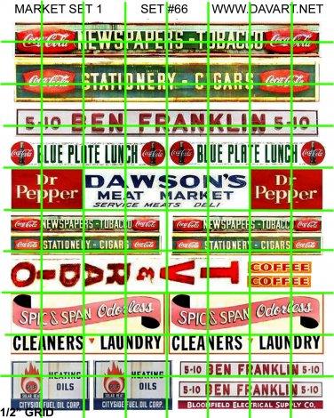 7011 - Market Set 1 BEN FRANKLIN TV RADIO COKE DR PEPPER STORE HEADER SIGNS