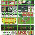 5015  -  Assorted Ad Set 5 BUS DEPOT GAS OIL CIGARS ADVERTISING SIGNS
