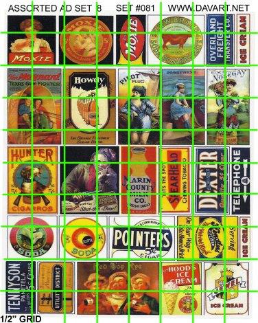 081 - Assorted Ad Set 8 MOXIE PLUG TOBACCO CIGARETTE AD SIGNS
