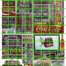N007 - N SCALE DECAL SET GHOST ADVERTISING COKE COLA SODA DRUG ASSORTED SIGNS