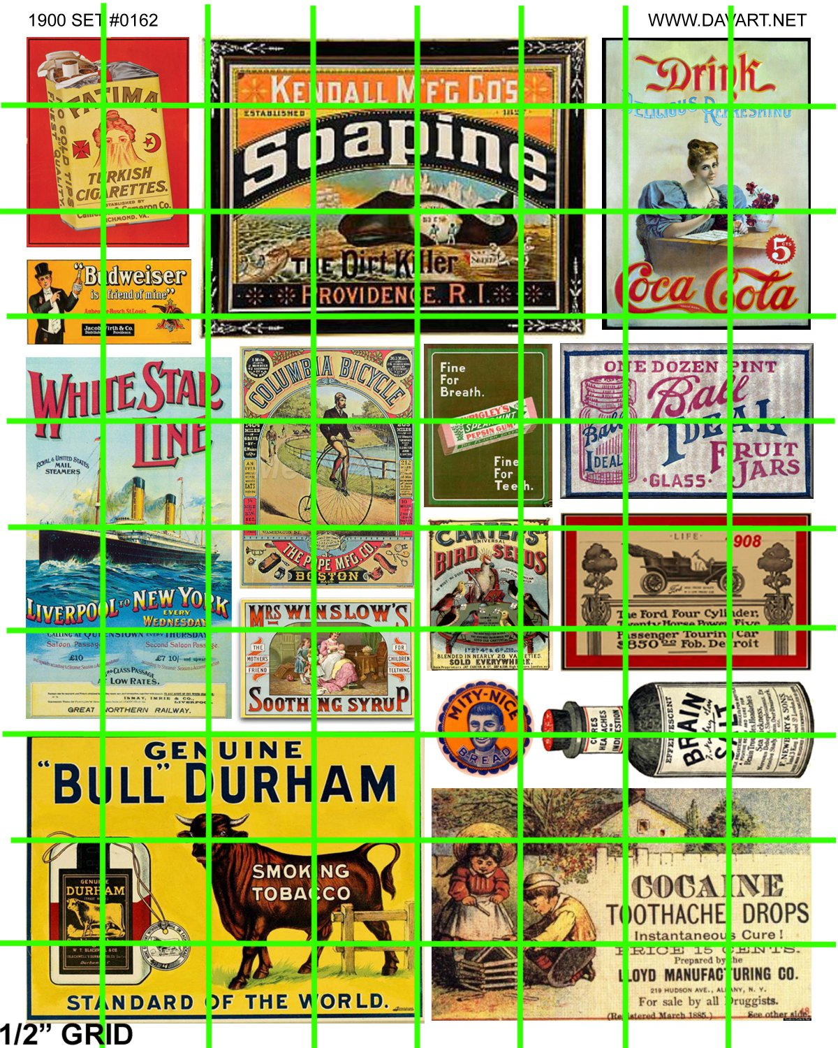 5050 - Late Steam Era 1890's to 1930's assorted signage and advertising BULL DURHAM