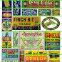 5043 - 1890's to 1930's Steam Era asst'd signs & ads Coke Tobacco Shell Remington