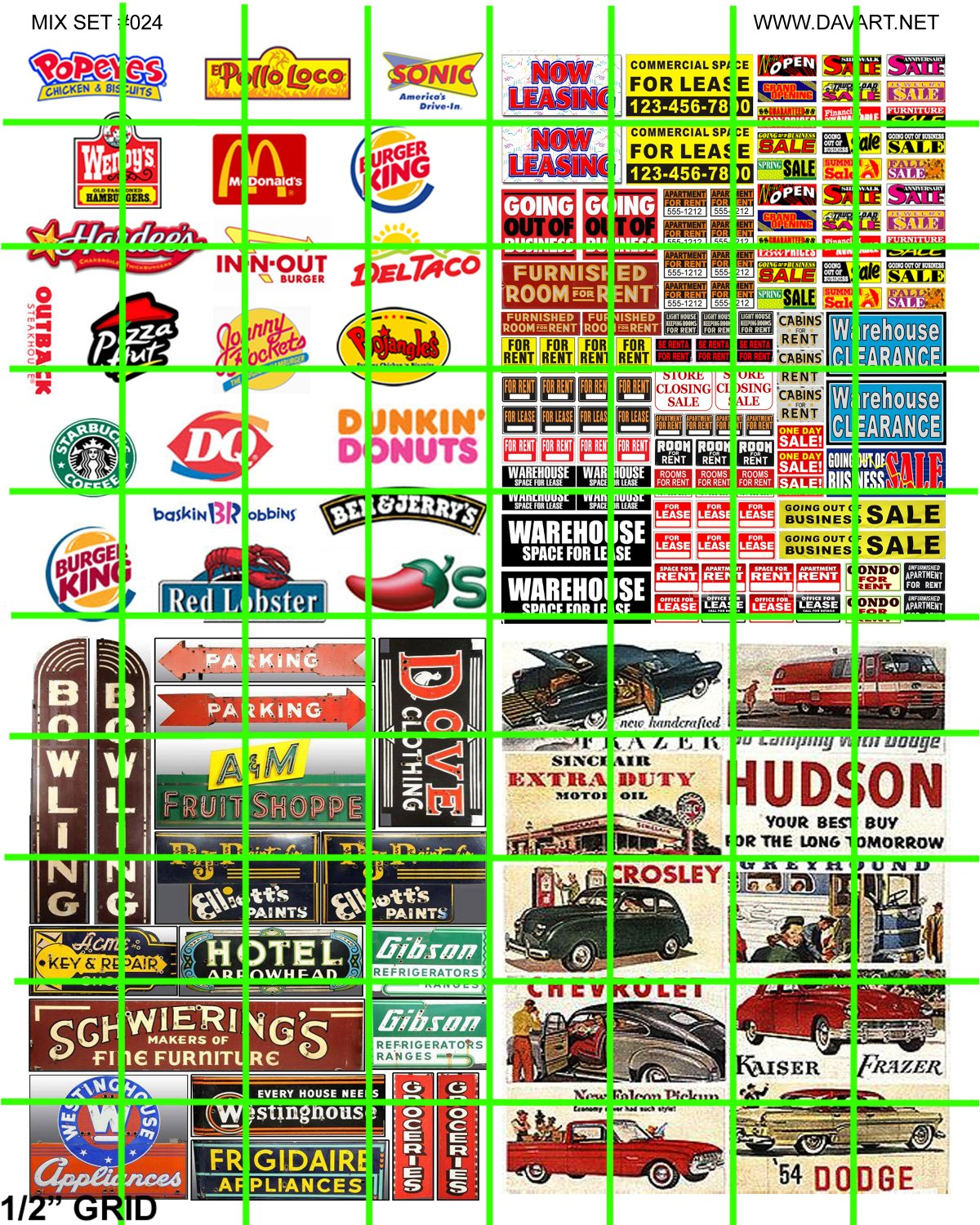 N024 - N SCALE FAST FOOD AUTO ADVERTISING LEASING BOWLING SIGNAGE