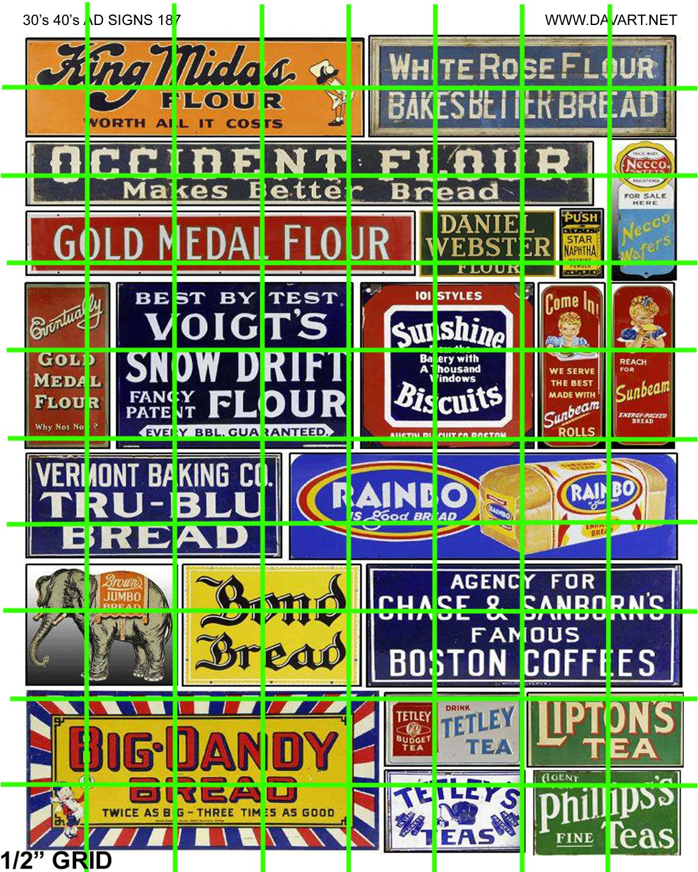 0187 - MID-CENTURY ADVERTISING SIGNAGE HO Scale