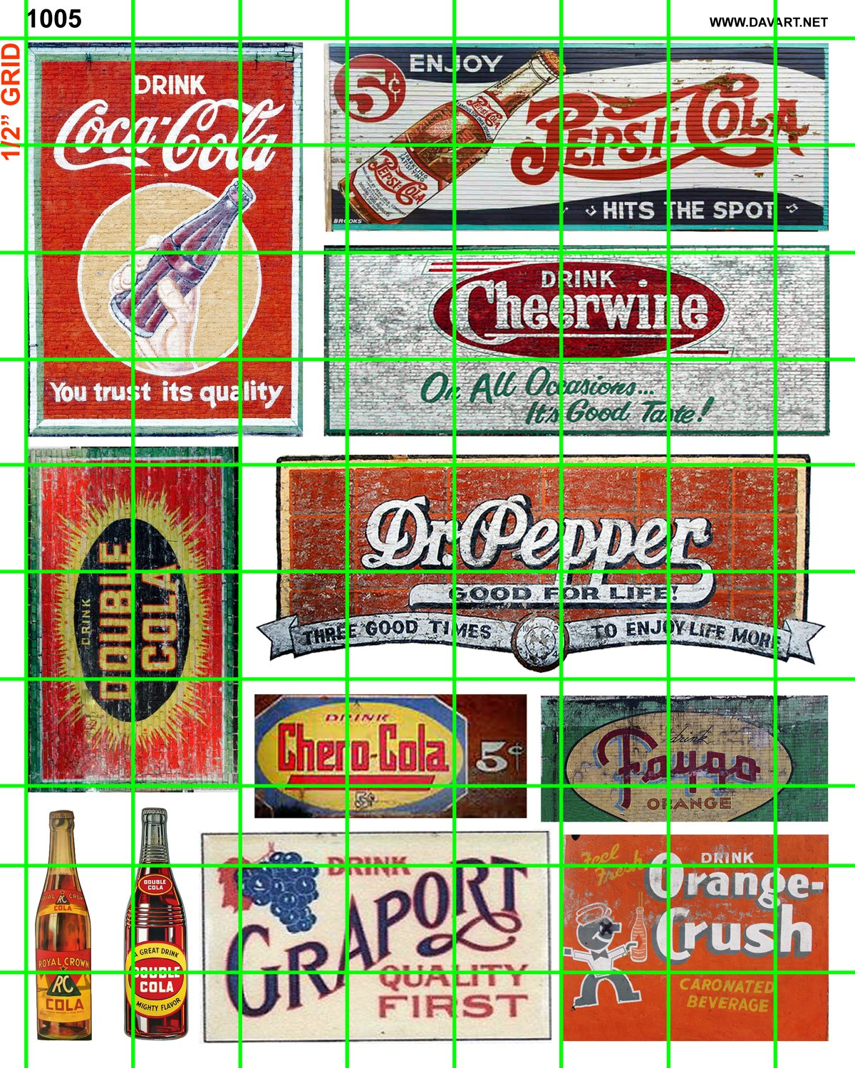 1005 - Assorted waterslide decals Soda, Cola and Coke building signage