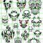 7101 - DAVE'S DECALS - GRAFFITI SKULL SET ASSORTED SIZES