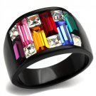 Candy Maze Ring Black Plated Stainless Steel TK316