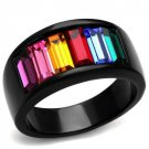 Black Rainbow Band Ring Black Plated Stainless Steel TK316
