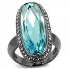 Aqua Elongated Oval Cut Ring Black Plated Stainless Steel TK316