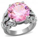Pink CZ Cocktail Ring Stainless Steel TK316