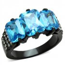 Emerald Cut Aqua Cocktail Ring Black Plated Stainless Steel TK316
