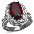 Siam Red Crystal Cocktail Ring Black Plated Stainless Steel TK316