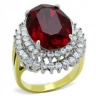 Siam Red Crystal Cocktail Ring Gold Plated Stainless Steel TK316