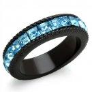Aqua Crystal Princess Cut Band Black Plated Stainless Steel TK316